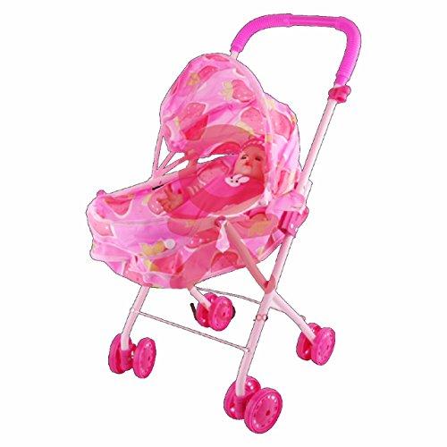Puppenwagen mit Puppe. Rosa,Buggy, rosa, klappbar, Tolles Geschenk für Kleinkinder Kinder Prinzessin