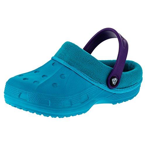 2 Surf Gefütterte Kinder Clogs für Jungen und Mädchen Unisex Winter Schuhe Pantoffel M479tüli Türkis Lila 32/33 EU