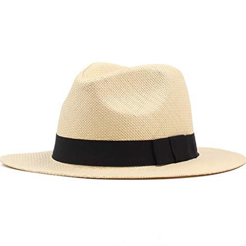 ZRL77y Hut Strand Sonnenschirm Sommer Stroh Sonnenhüte Für Männer Strand Hut Faltbare Stroh Mähdrescher Hut Faltbare Breiter Krempe Hüte (Color : Beige)