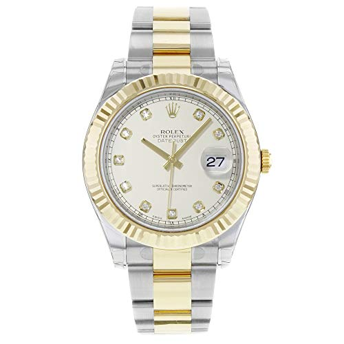 Rolex Men's 41mm Two Tone Steel Bracelet & Case Sapphire Crystal Automatic White Dial Watch m116333-0008