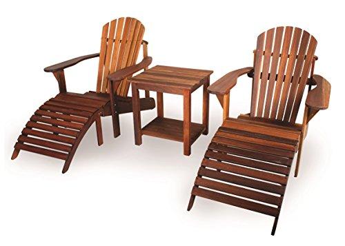 Adirondack-set (Adirondack Set, geölt (2 Gartenstühle, Beistelltisch, 2 Fußstützen), aus exklusivem Mahagoni Hartholz)