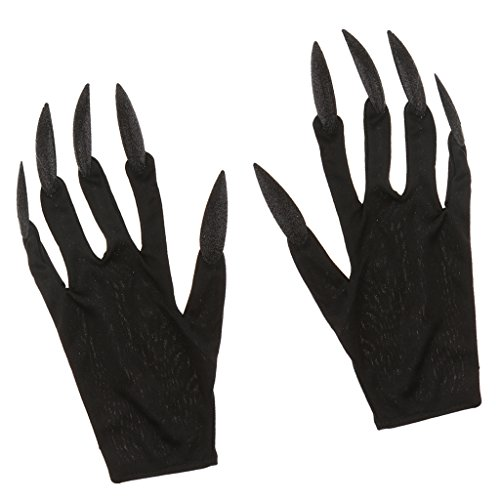 MagiDeal Schwarz Handschuhe mit Lange Fingernägel Hexen Kostüm für Halloween Karneval Cosplay