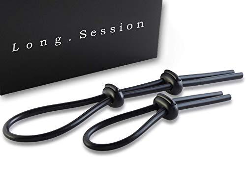 LONG.SESSION Premium Schlaufen-Penisringe aus Silikon, 2er Set Cockringe verstellbar, Hodenringe einstellbar, Sexspielzeug für Männer und Paare