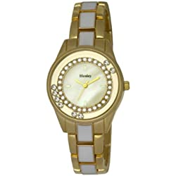 Henley Ladies Floating Diamante Bracelet Fashion Women's Quartz Watch with Silver Dial Analogue Display and Rose Gold Plated Stainless Steel Bracelet H07220.2