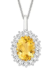 "Silvernshine 2.30 Ct Oval CitrIne & D/VVS1 Diamond Halo Pendant With 18"" ChaIn In 14K White Gold Fn"