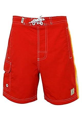 Tokyo Laundry 'Alroy Men's Striped Multi Pocket Swim Shorts, Alroy - Fire Brick Red, Small