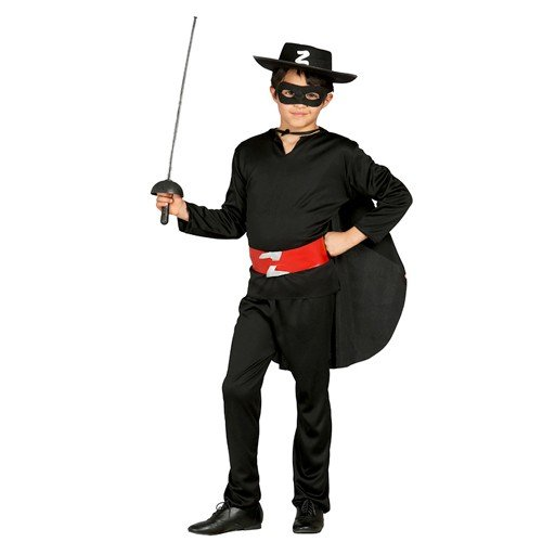 Guirca Kostüm Zorro, Bandito, Schwarz, 5/6 Jahre, - Bandito Kinder Kostüm