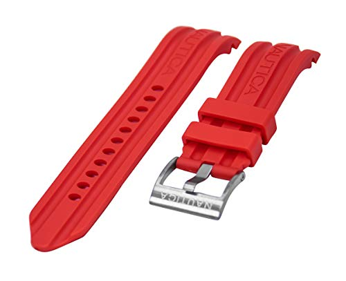 Nautica Men's A15574G BFD 100 Multi-Function Red 24mm Replacement Band | Strap