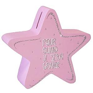 Enesco 700187 - Hucha de Estrellas para niña, Color Rosa