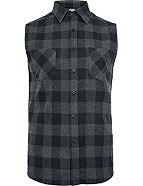 Urban Classics Herren Sleeveless Checked Flanell Hemd
