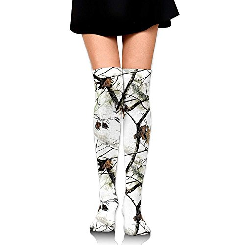 guolinadeou White Realtree Camo Over The Knee Long Socks Tube Thigh-High Sock Stockings For Girls & Womens -