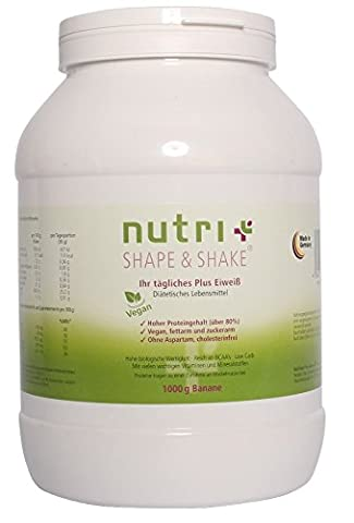 Nutri-Plus Shape & Shake Vegan Banane 1kg - Veganes Eiweißpulver
