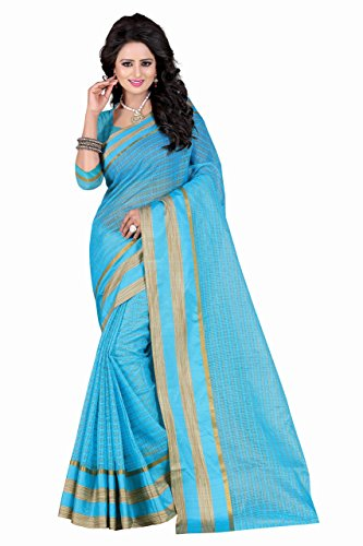 Sarees (Women's Clothing Saree For Women Latest Design Wear Sarees New Collection in SKY BLUE Coloured POLY COTTON Material Latest Saree With Designer Blouse Free Size Beautiful Bollywood Saree For Women Party Wear Offer Designer Sarees With Blouse Piece)  available at amazon for Rs.399