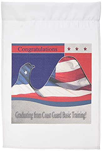 3dRose fl_40431_1 Coast Guard Basic Training Congratulations Eagle Garden Flag, 12 by 18Inch