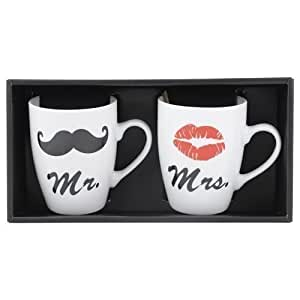 Mr & Mrs Mug Set Tasses à café Saint Valentin Tasses de Café Baiser Bouche Barbe, blanc, 1 x 2er Set