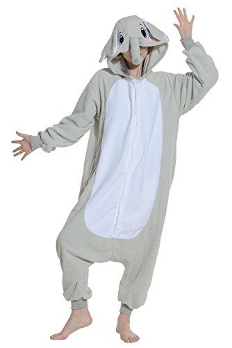 Elefanten Jumpsuit Kostüm Tier Pyjamas Fasching Onesie Damen Herren Karneval Cosplay Nachtwäsche