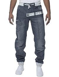 ENZO Homme Enduit Noir Collerette De Jambe Jeans Jean Homme Taille Élastique