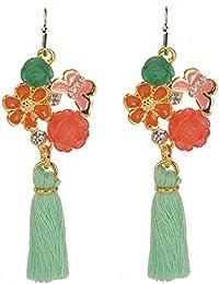 Floral bisutería: Verde y Naranja tono borla pendientes con detalle de mariposas, color rosa