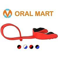 Oral Mart Protector bucal con Correa (fútbol/Hockey/Lacrosse) - de los Deportes (Viene con Caja) Adulto Rojo/Negro