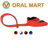 Oral Mart Paradenti con Cinturino (Calcio/Hockey/Lacrosse) - Sport e Tempo Libero (Viene Fornito con Custodia) Adulto Rosso/Nero