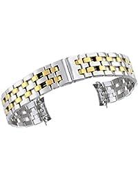 18mm de plata de lujo de la banda de reloj perforada de acero inoxidable sólido pulsera