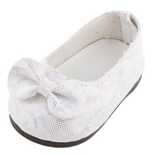 Beautiful weiß bowknot Wohnungen Schuhe für American Girl Puppe Kleidung