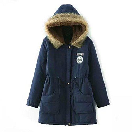JURTEE Damen Winterjacke,Wintermantel Lange Daunenjacke Jacke Outwear Winter Warm Trenchcoat mit Abnehmbarer Pelzkragen Parka Outwear Mäntel (XXL, Marine)