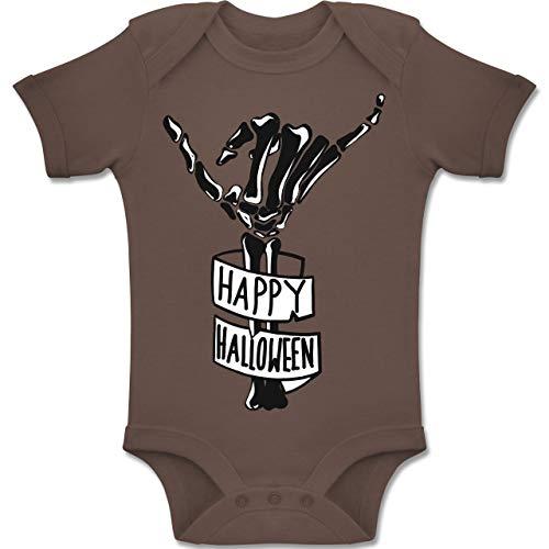 Baby - Happy Halloween Skelett Hand - 1-3 Monate - Braun - BZ10 - Baby Body Kurzarm Jungen Mädchen ()