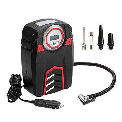 VISLONE Compressore Aria Portatile per Auto, Mini Pompa Elettrica per Gonfiaggio Pneumatici Auto, con 3 Adattatori di Valvola per Materasso ad Aria, Veicoli e Bici, 30L/Min (LCD Digitale)