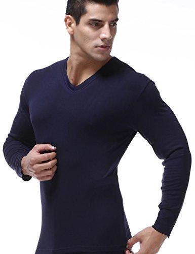 Legou Herren Baumwolle V-Neck Basic Langarm T-shirt plussize Schwarz