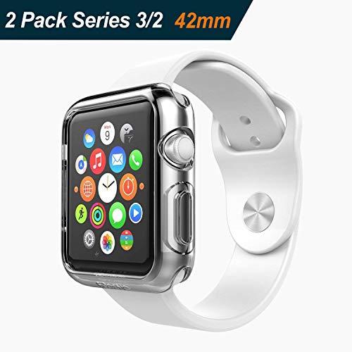 iVoler [2 Stücke] Hülle kompatibel mit Watch 42mm Series 2 2016 / Series 3 2017, Premium Transparent Klare Tasche Schutzhülle Weiche TPU Silikon Gel Schutzhülle Case Cover