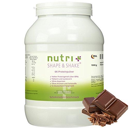 Nutri-Plus Shape & Shake Schokolade 1kg - Eiweißpulver ohne Aspartam - Mit Whey-Isolat + Casein - inkl. Dosierlöffel - Low-Carb - ideal zum Backen