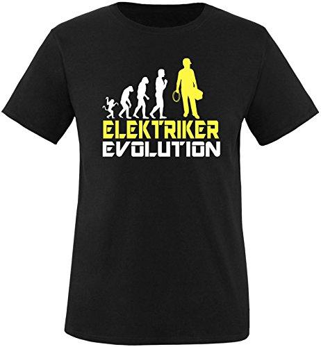 EZYshirt® Elektriker Evolution Herren Rundhals T-Shirt Schwarz/Weiss/Gelb