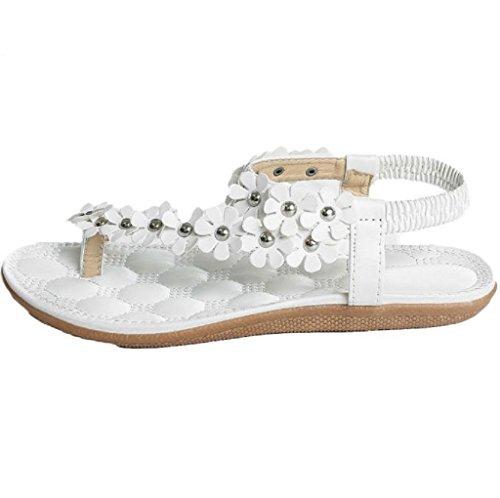 Familizo scarpe donne elegante la moda Toe Sandals Moda Dolce estate Boemia dolci rilievo sandali della clip delle donne della spiaggia calza a spina di pesce Sandali Scarpe (size:38, Bianca)