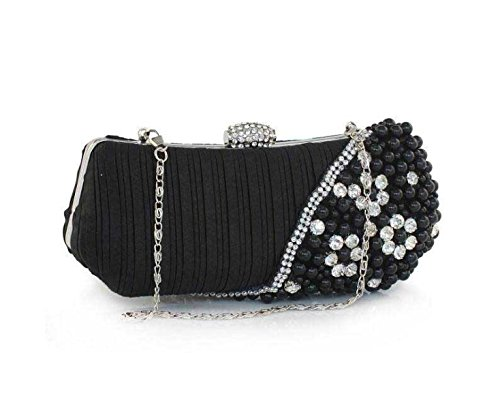 Damen Abendessenbeutel Diamant Damen Perlenhandtasche Handy Kosmetiktasche Black