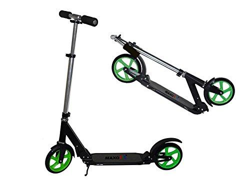 Preisvergleich Produktbild MAXOfit® Street Scooter Big 205 Tretroller Rahmen schwarz, Felgen grün, bis 100 kg, 66658