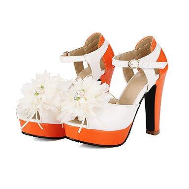 CH&TOU Da donna-Sandali-Ufficio e lavoro Formale Serata e festa-Altro-Quadrato-Finta pelle-Giallo Verde Arancione Orange