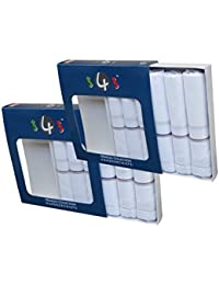 S4S Men's 100% Cotton Premium Collection Luxury Handkerchiefs (White with Subtle Color_46X46 CM)