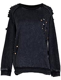 Anna-Kaci Black Fashion Women Rivet Punk Style Casual Pullover Sweater
