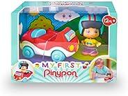 Pinypon - My First, Happy Vehículos Coche, Cochecito rojo de juguete con ruedas, un cilindro con dibujos para