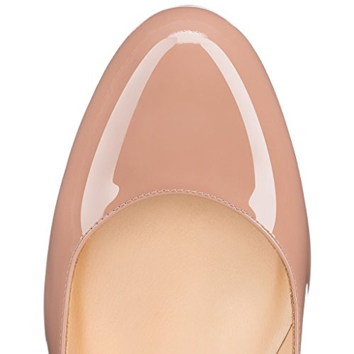 EDEFS Femmes Artisan Fashion Escarpins Classiques Délicats Bout Ronds Chaussures à mi-talon aiguille de 65mm Travail Bureau Noir Brillant Beige