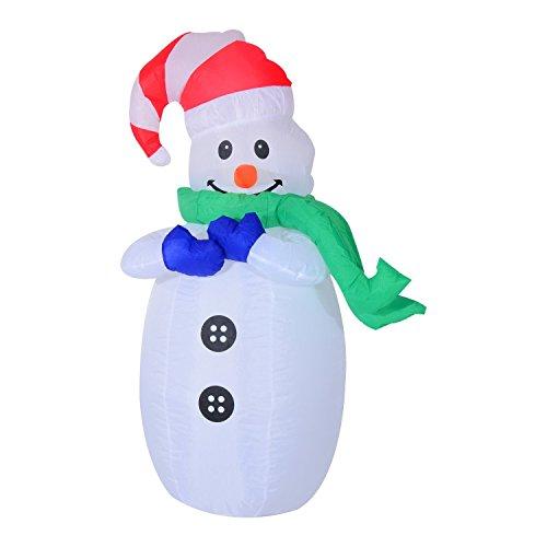 Muñeco de Nieve Inflable 55x45x120cm Luces Navidad LED Jardin Decoracion