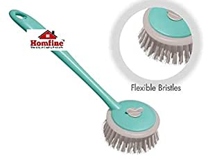 Homfine Round Kitchen Cleaning Plastic Handy Sink Brush (Small Size, Multicolour)