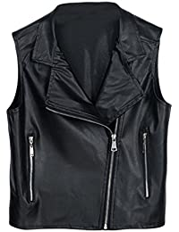Fashion Women Girls Slim Fitted Zip up Sleeveless Faux Leather PU Jacket Cool Punk Biker Motorcycle Jacket Women Outwear Clothing Autumn & Winter Clothes 4 Sizes