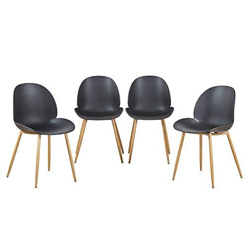H.J WeDoo Lot DE 4 Chaises Design pour Salle à Manger, Chaise Scandinave avec Pieds en Métal Robustes Style Bois - Noir