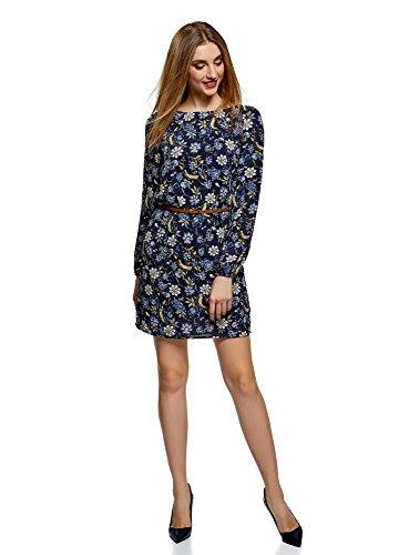 oodji Ultra Damen Chiffon-Kleid mit Gürtel, Blau, DE 40 / EU 42 / L