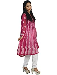 Panache Women's Handcrafted Georgette Chikan Embroidered Anarkali Cut Kurti (F/ANK/00001_Rani Pink_42)
