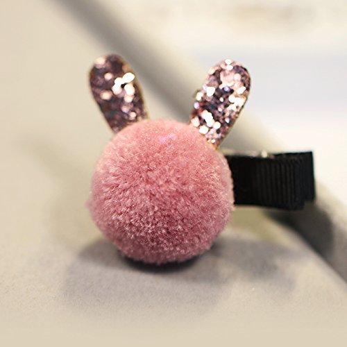 Tlue Tathtub Süße Haar Clip Kopfschmuck Niedlichen Kaninchen Haar Ball Kleine Kinder Haarschmuck Seite Bangs Clip Clip, Zwei, Rote Bohne (Kostüme Bohne)