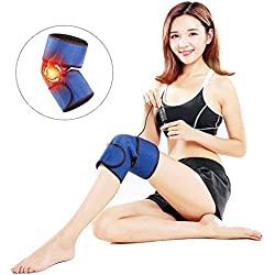 HIXGB Kniebandage,Elektrische Heizung Knieschützer,1 para Tragbare Elektrische Heizung Kniepolster Erleichterung Schmerz Emperature Einstellbares Kniepolster, Arthritis Warme Pad Massagegerät