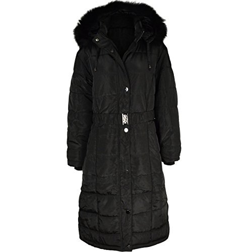 Womens Ladies Long Winter Coat Padded Quilted Puffa Jacket Fur Hooded Plus Size (Winter Womens Fashion)